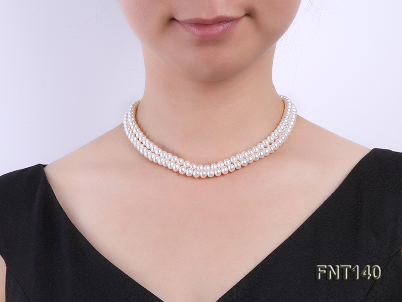 Two-strand 6-7mm White Freshwater Pearl Necklace and Bracelet Set big Image 8