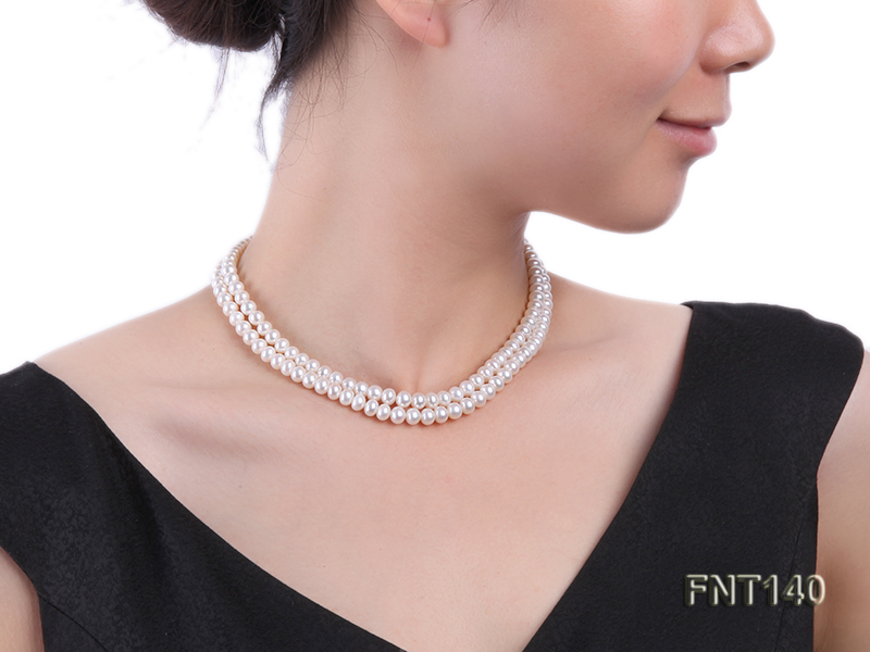 Two-strand 6-7mm White Freshwater Pearl Necklace and Bracelet Set big Image 9