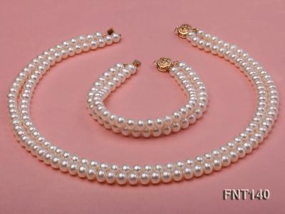 Two-strand 6-7mm White Freshwater Pearl Necklace and Bracelet Set FNT140 Image 2