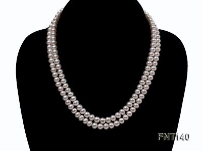 Two-strand 6-7mm White Freshwater Pearl Necklace and Bracelet Set FNT140 Image 3