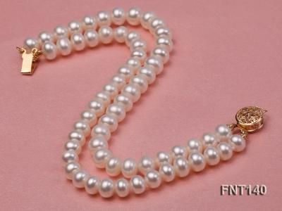Two-strand 6-7mm White Freshwater Pearl Necklace and Bracelet Set FNT140 Image 4