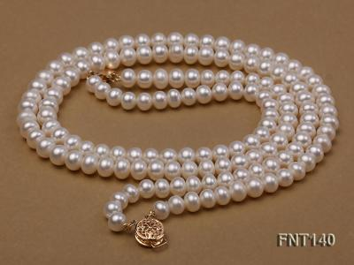 Two-strand 6-7mm White Freshwater Pearl Necklace and Bracelet Set FNT140 Image 5