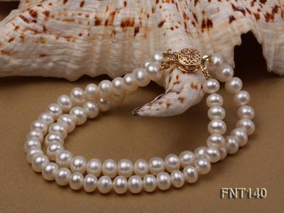 Two-strand 6-7mm White Freshwater Pearl Necklace and Bracelet Set FNT140 Image 6