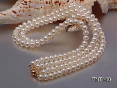 Two-strand 6-7mm White Freshwater Pearl Necklace and Bracelet Set FNT140 Image 7