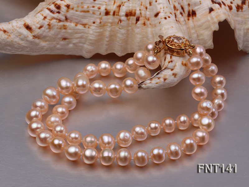 7-8mm Pink Freshwater Pearl Necklace and Bracelet Set big Image 4