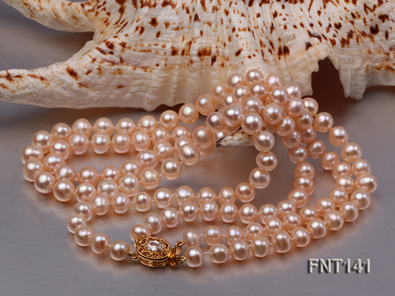 7-8mm Pink Freshwater Pearl Necklace and Bracelet Set big Image 5