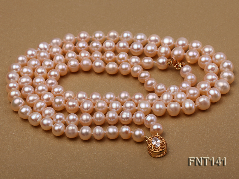 7-8mm Pink Freshwater Pearl Necklace and Bracelet Set big Image 6