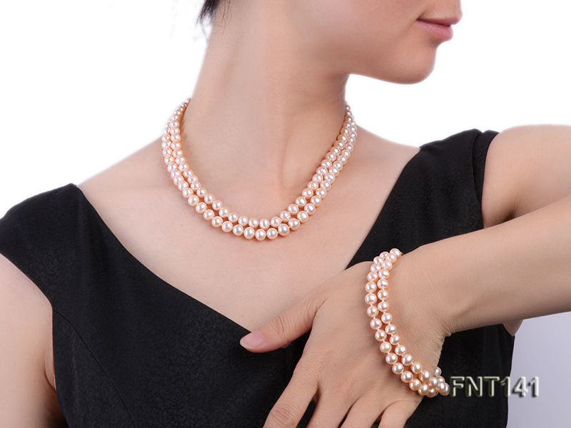 7-8mm Pink Freshwater Pearl Necklace and Bracelet Set big Image 1