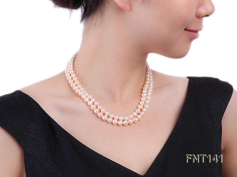 7-8mm Pink Freshwater Pearl Necklace and Bracelet Set big Image 8