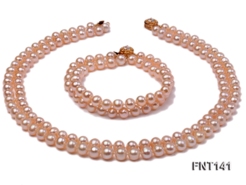7-8mm Pink Freshwater Pearl Necklace and Bracelet Set big Image 9