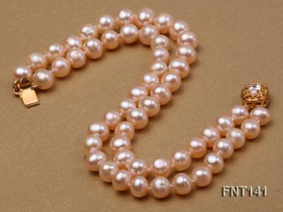 7-8mm Pink Freshwater Pearl Necklace and Bracelet Set FNT141 Image 3