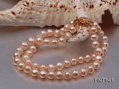 7-8mm Pink Freshwater Pearl Necklace and Bracelet Set FNT141 Image 4