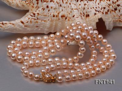 7-8mm Pink Freshwater Pearl Necklace and Bracelet Set FNT141 Image 5