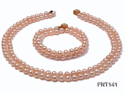 7-8mm Pink Freshwater Pearl Necklace and Bracelet Set FNT141 Image 9