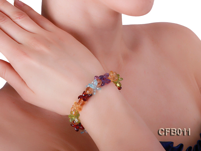 6x8mm Colorful Faceted Crystal Bracelet big Image 6