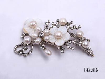 Gold Plated Brooch with Freshwater Pearls, Flower-shaped Seashells and Rhinestone Beads FB005 Image 1