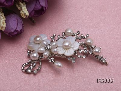 Gold Plated Brooch with Freshwater Pearls, Flower-shaped Seashells and Rhinestone Beads FB005 Image 2