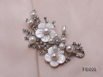 Gold Plated Brooch with Freshwater Pearls, Flower-shaped Seashells and Rhinestone Beads FB005 Image 4