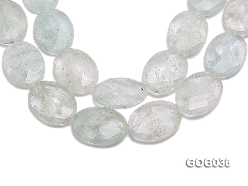 Wholesale 30x40mm Light Green Crystal-like Faceted Stone String big Image 1