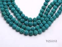 Wholesale 10mm Carved Round Blue Turquoise Beads String TQW013
