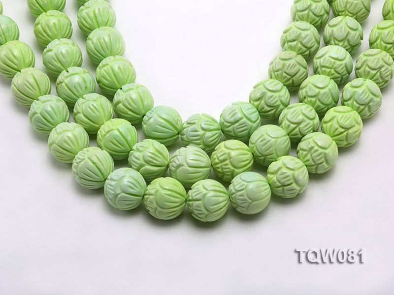 Wholesale 18mm Round Green Carved Turquoise Beads String big Image 1