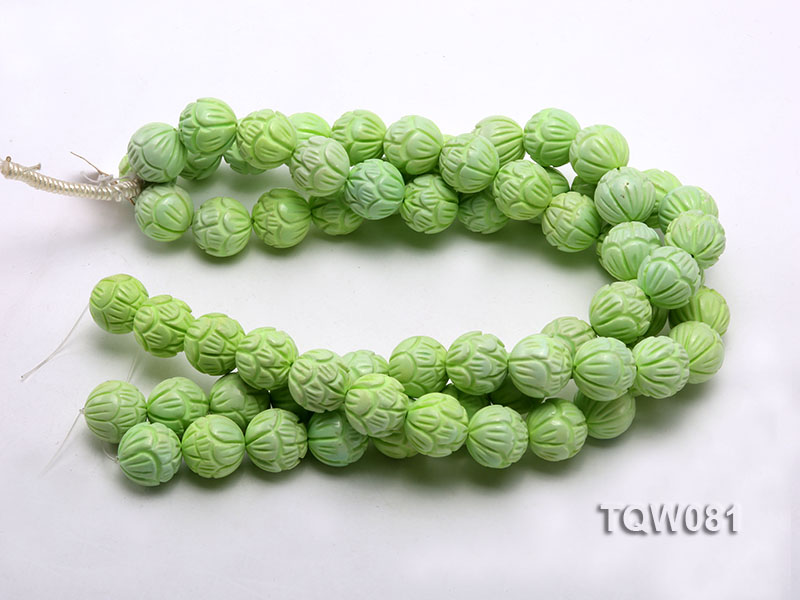 Wholesale 18mm Round Green Carved Turquoise Beads String big Image 3