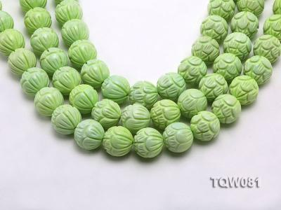 Wholesale 18mm Round Green Carved Turquoise Beads String TQW081 Image 1