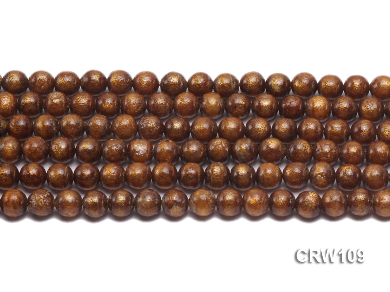 Wholesale 8mm Round Golden Coral Beads Loose String big Image 2