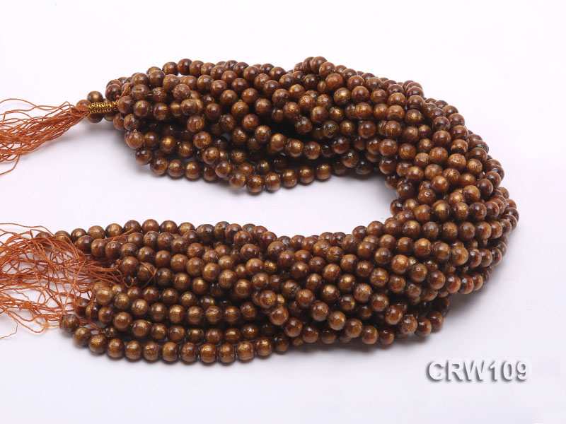 Wholesale 8mm Round Golden Coral Beads Loose String big Image 3