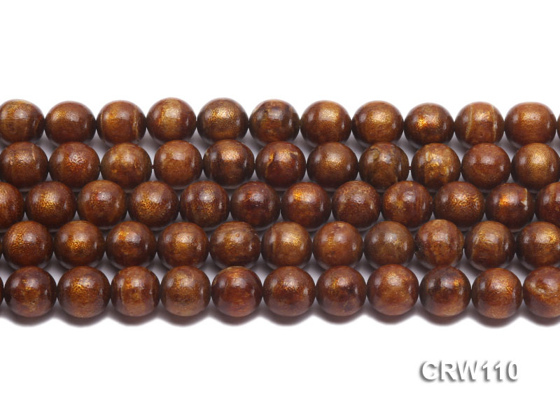 Wholesale 11mm Round Golden Coral Beads Loose String big Image 2