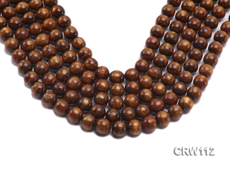 Wholesale 12mm Round Golden Coral Beads Loose String big Image 1