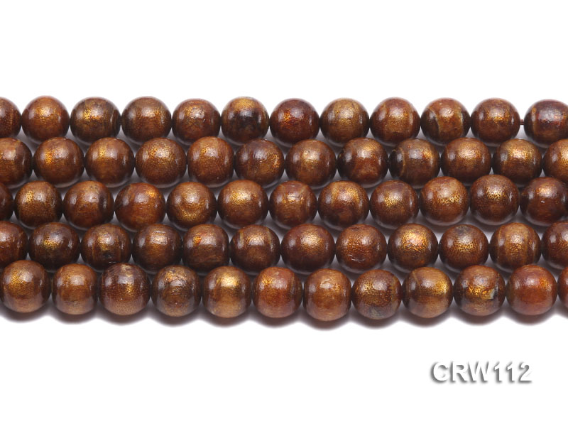 Wholesale 12mm Round Golden Coral Beads Loose String big Image 2