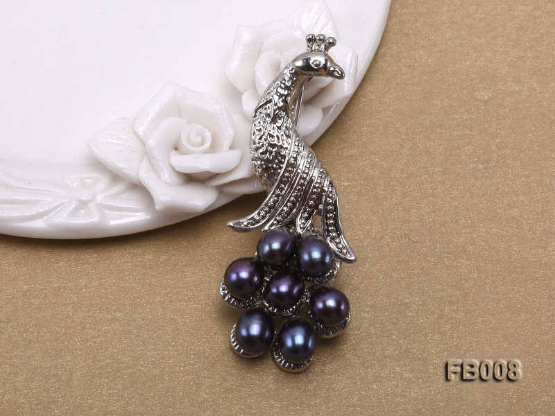 Peacock-shaped Gold Plated Brooch with  Black Oval Freshwater Pearls big Image 3