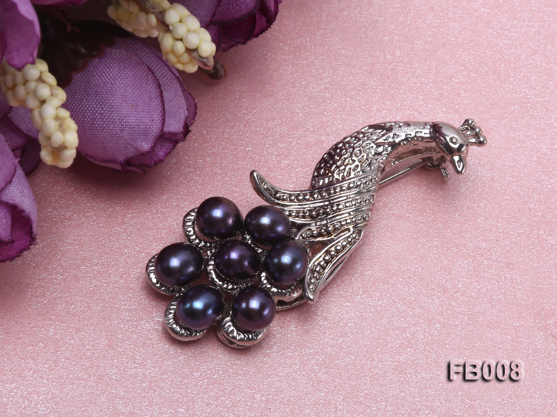 Peacock-shaped Gold Plated Brooch with  Black Oval Freshwater Pearls big Image 5
