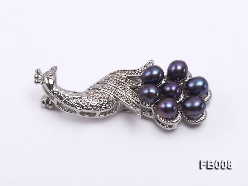 Peacock-shaped Gold Plated Brooch with  Black Oval Freshwater Pearls big Image 1