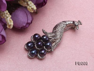 Peacock-shaped Gold Plated Brooch with  Black Oval Freshwater Pearls FB008 Image 5