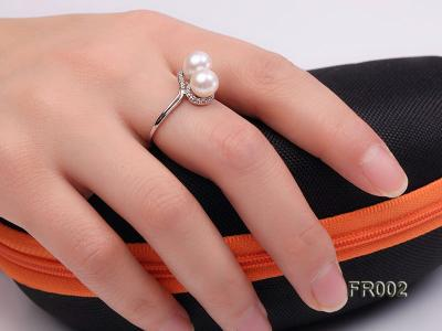 7.5mm white freshwater pearl ring FR002 Image 2