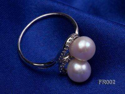 7.5mm white freshwater pearl ring FR002 Image 6