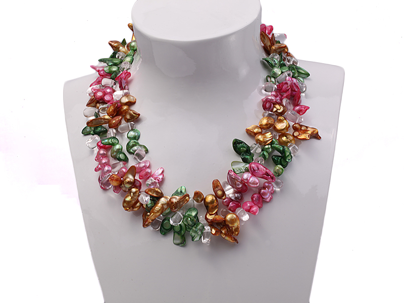 Three-strand Colorful Freshwater Pearl Necklace with Crystal Beads big Image 4