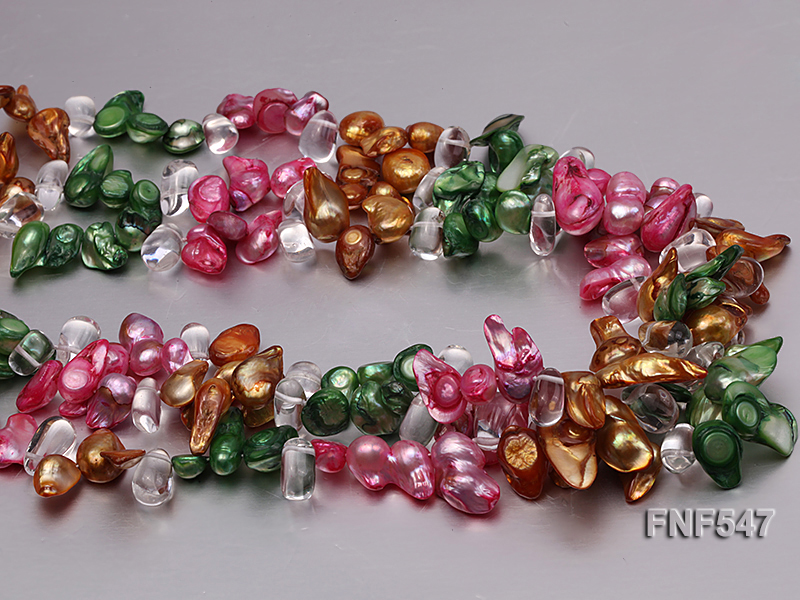 Three-strand Colorful Freshwater Pearl Necklace with Crystal Beads big Image 5