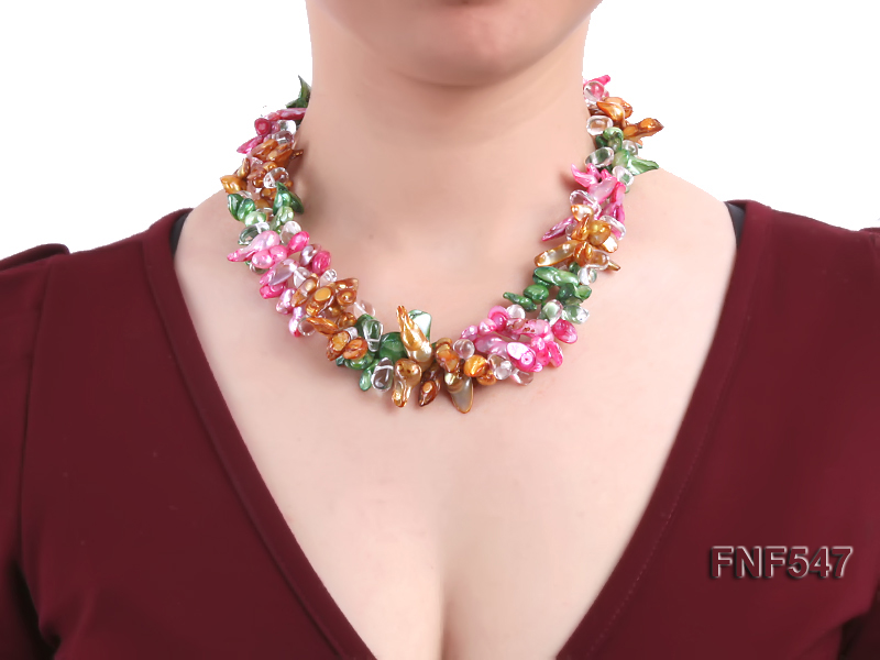 Three-strand Colorful Freshwater Pearl Necklace with Crystal Beads big Image 2