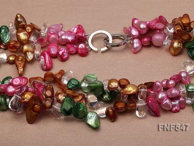 Three-strand Colorful Freshwater Pearl Necklace with Crystal Beads FNF547 Image 3