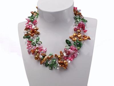 Three-strand Colorful Freshwater Pearl Necklace with Crystal Beads FNF547 Image 4