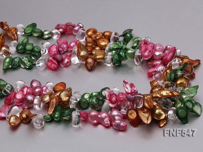 Three-strand Colorful Freshwater Pearl Necklace with Crystal Beads FNF547 Image 5
