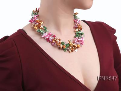Three-strand Colorful Freshwater Pearl Necklace with Crystal Beads FNF547 Image 6