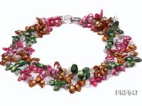 Three-strand Colorful Freshwater Pearl Necklace with Crystal Beads FNF547
