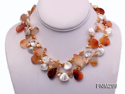 2 strand agate and white seashell necklace FNM299 Image 1