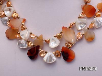2 strand agate and white seashell necklace FNM299 Image 2