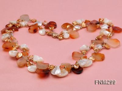 2 strand agate and white seashell necklace FNM299 Image 3