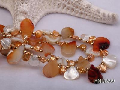 2 strand agate and white seashell necklace FNM299 Image 4